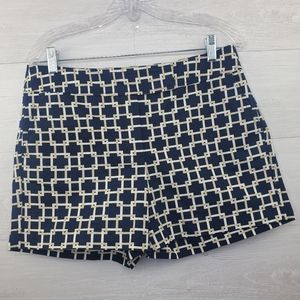 Ann Taylor Navy Geometric Design Short size 6